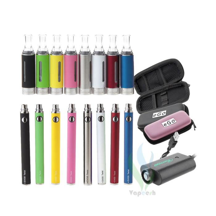 Karnoo MT3 BCC (Black, Green, Yellow, Pink, Stainless, White, Red, Blue) with eVod Twist eGo Mod (Black, Green, Yellow, Pink, Stainless, White, Red, Blue) and eGo USB Charger and eGo Carry Case (Pink - Black)