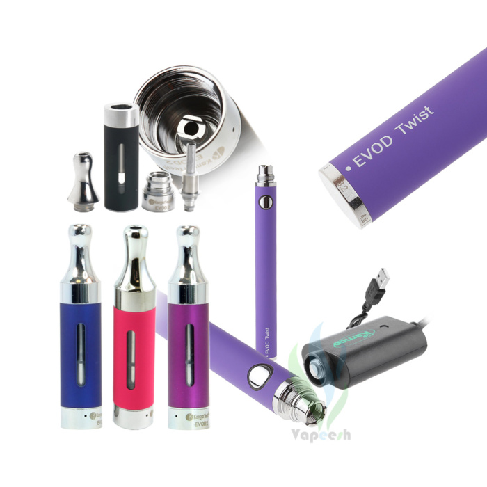 Kanger Evod2 Atomizer (Pink, Blue, & Purple) with Evod Twist Purple eGo Mod and eGo USB charger