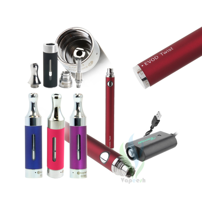 Kanger Evod2 Atomizer (Pink, Blue, & Purple) with Evod Twist Red eGo Mod and eGo USB charger