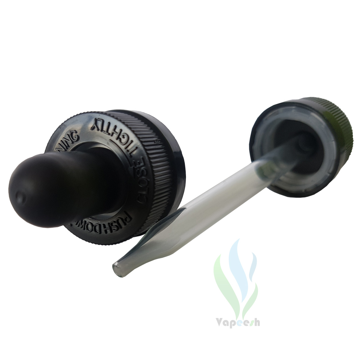 2 black eye-dropper closures with glass tube