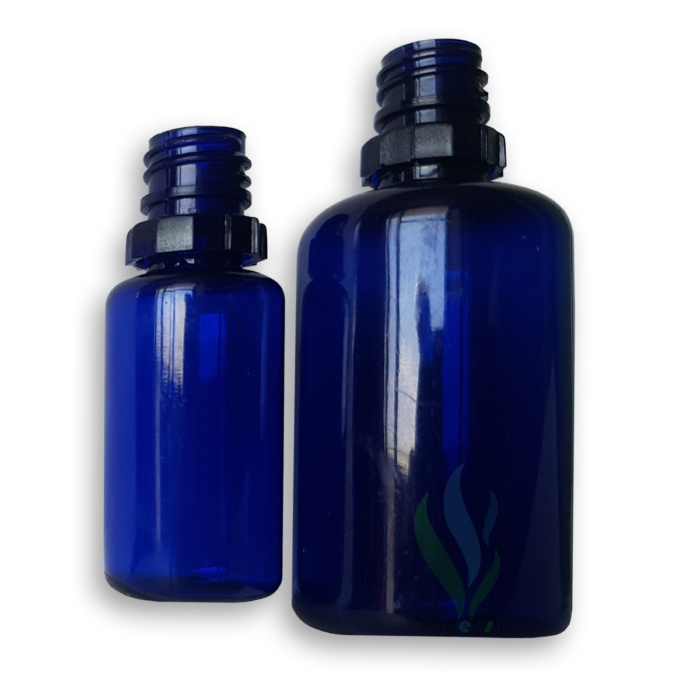 2 Round blue PET dropper bottles in different sizes without cap