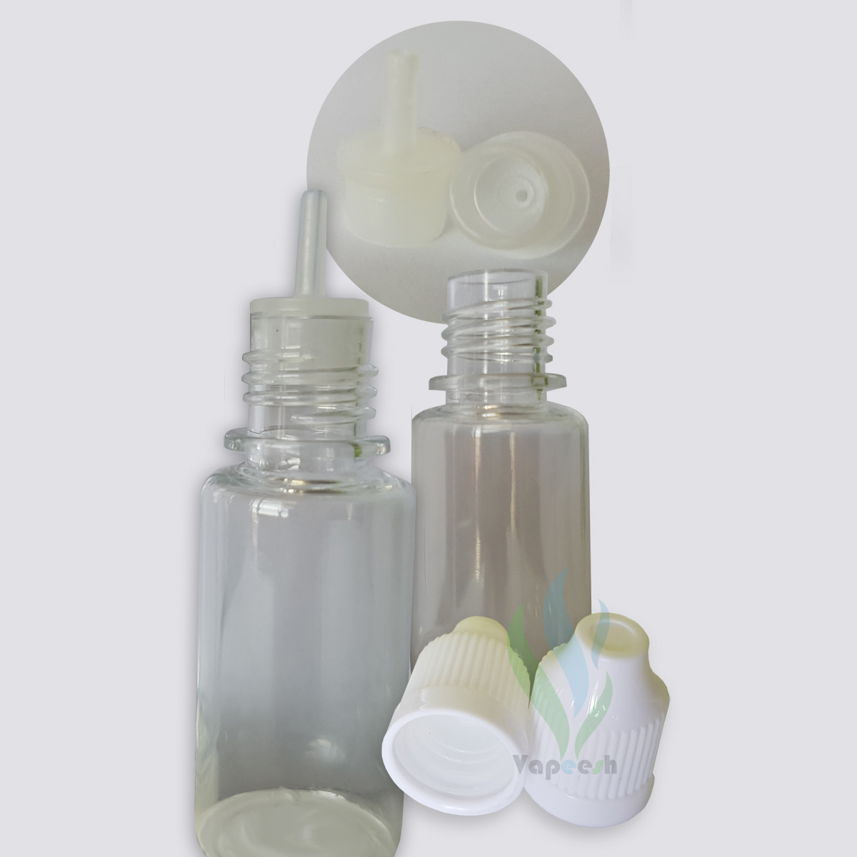 2 Round clear PET dropper bottles 10ml & 2 white caps & 2 natural tips