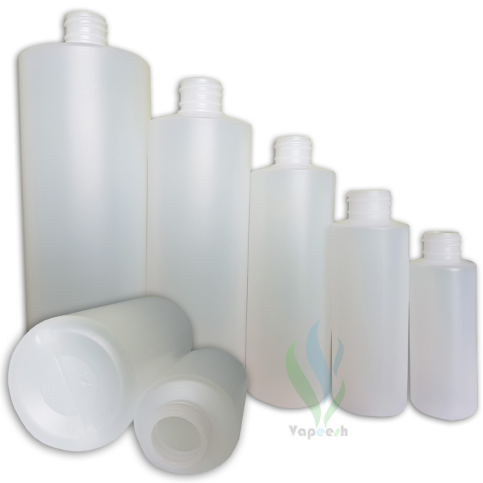 7 HDPE natural cylinderical bottle without closure in different sizes
