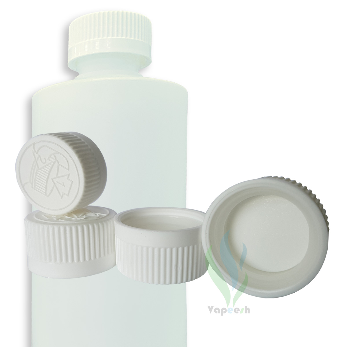HDPE natural cylinderical bottle with white Child-Resistant closure & 4 white Child-Resistant closures