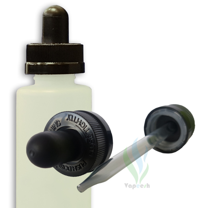 HDPE natural cylinderical bottle with black eye-dropper closure & 2 black eye-dropper closures with glass tube