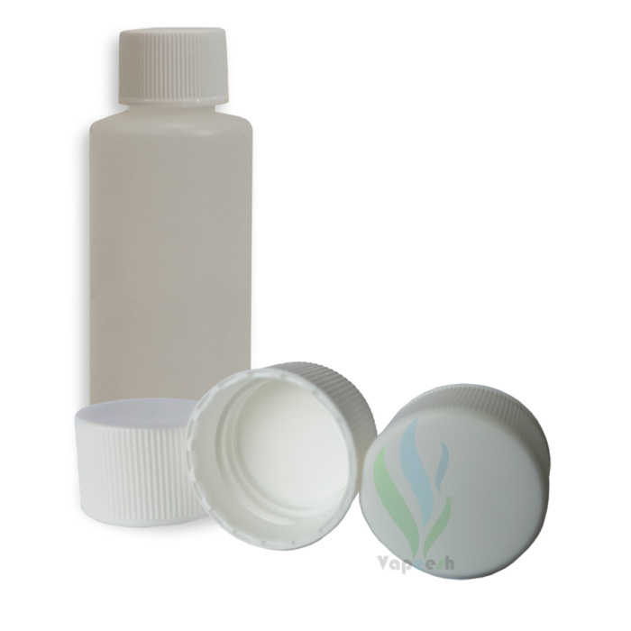 HDPE natural cylinderical bottle with white ribbed-screw closure & 3 white ribbed-screw closures