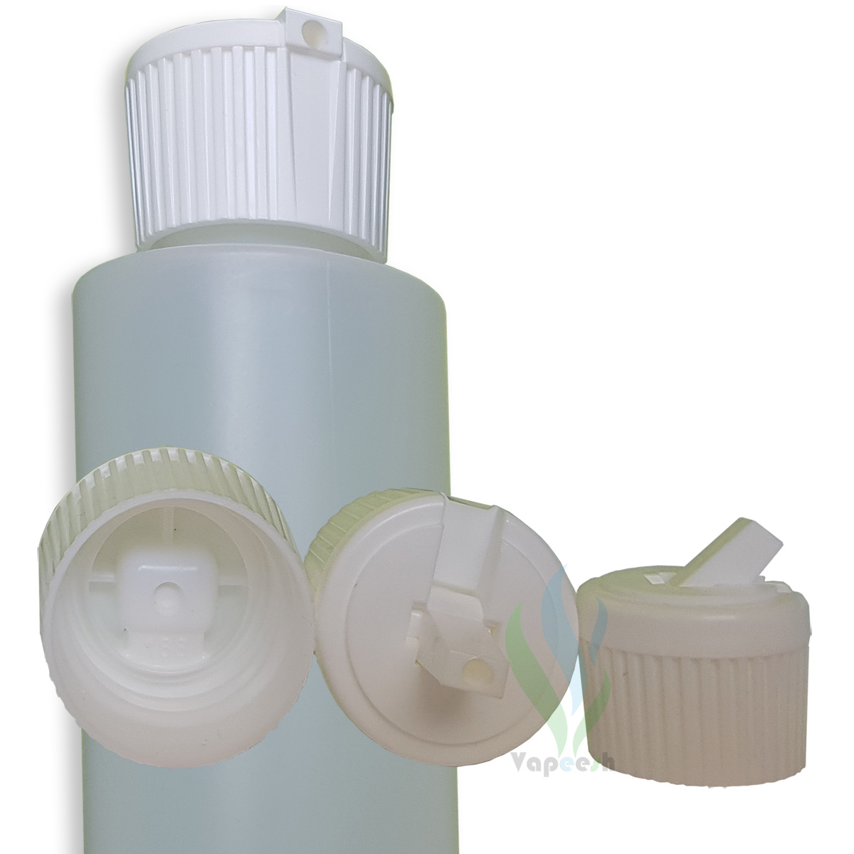 HDPE natural cylinderical bottle with white flip-spout closure & 3 white turret closures