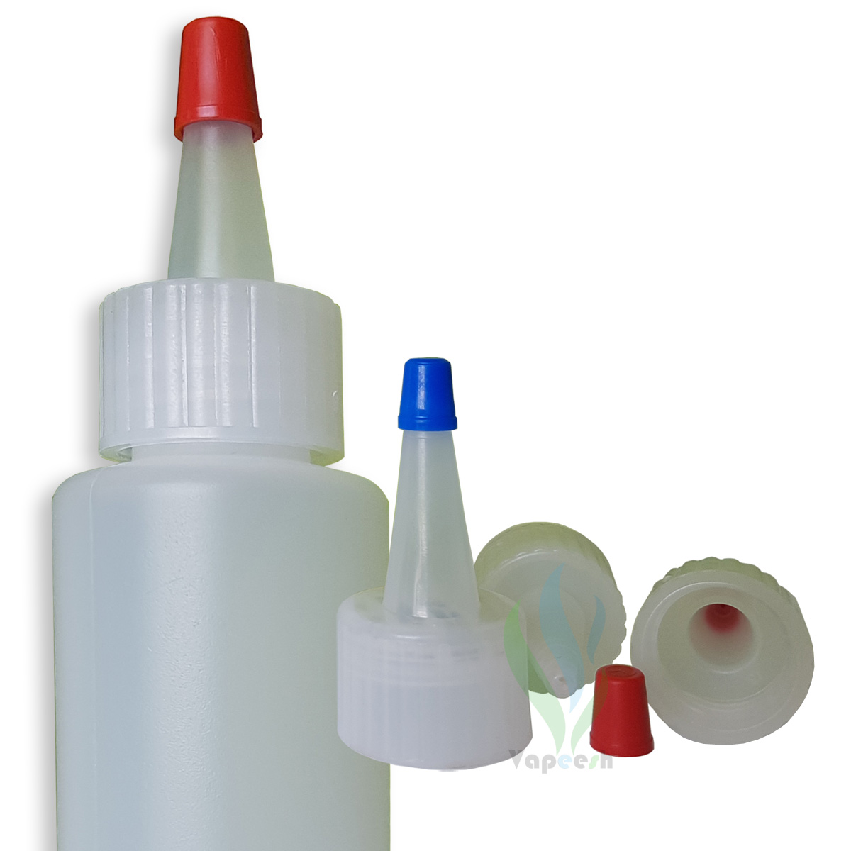HDPE natural cylinderical bottle with natural yorker closure with red tip cover & 3 natural yorker closures with blue or red tip caps