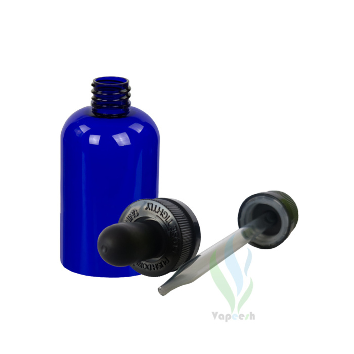 Uncapped PET blue boston bottle & 2 black eye-dropper closures with glass tube