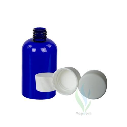 Uncapped PET blue boston bottle & 3 white ribbed screw closures