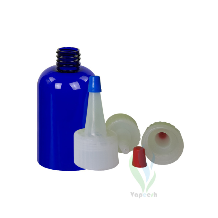 Uncapped PET blue boston bottle & 3 natural yorker closures with blue or red tip cap