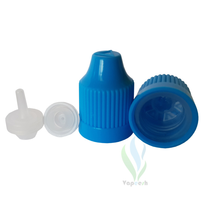 2 blue caps & 2 natural tips for Unicorn LDPE bottles