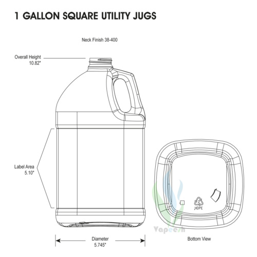 HDPE natural square gallon dimensions