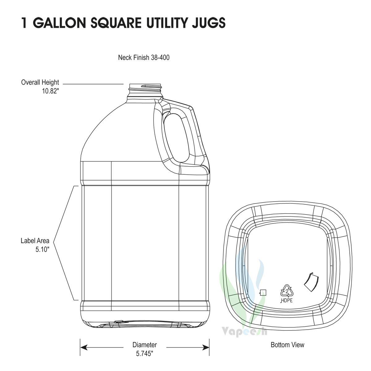 HDPE natural square gallon dimensions